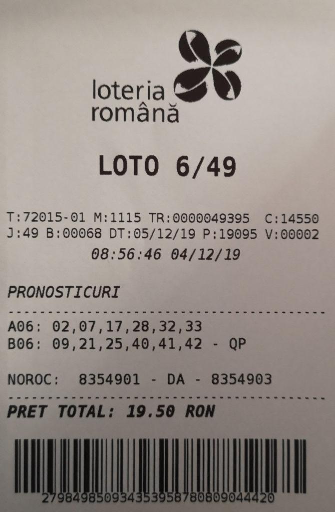Bilet loto 6 din 49